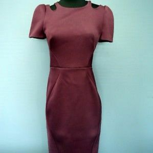 ZAC POSEN Plum Short Sleeves Cut Out Shoulders 4